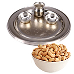 Admirable Diwali Special Gift of One Silver Puja Thali with Spicy Cashew Nuts