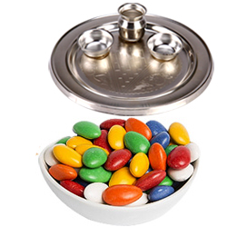 Fantastic Gift of Sugar Coated Almonds with Decorative Silver Thali for Diwali Celebration