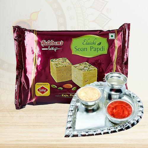 Delicious Bikaji Soan Papdi with Paan Shape Puja Thali Gift Pack