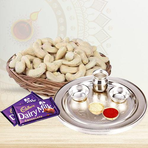 Remarkable Silver Thali and Cashew Nuts with Dairy Milk