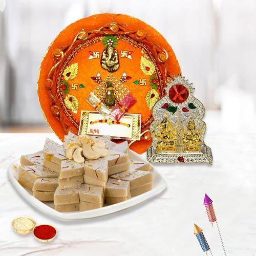 Wonderful Pooja Thali with Mandap N Kaju Katli