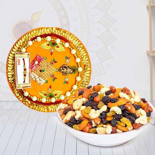 Exclusive Pooja Thali with Mixed Dry Fruits in a Bowl