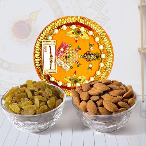 Decorative Pooja Thali with Mixed Dry Fruits Combo