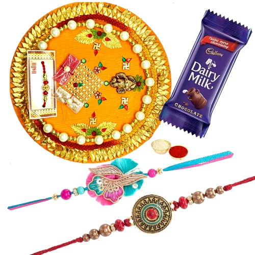 Rakhi Thali with 2 Rakhi and 1 Dairy Milk