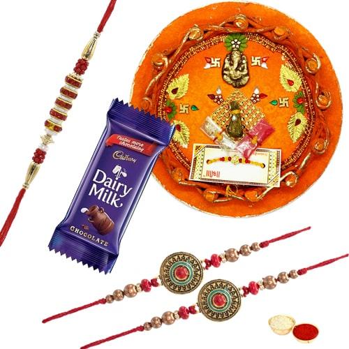 Rakhi Thali with 3 Rakhi
