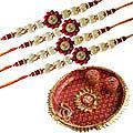 Rakhi Thali with 4 Rakhi