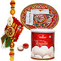 Attractive Rakhi and Rakhi Thali with 1 kg. Haldiram Rasgulla