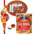 Amazing Gift of Designer Thali with One Rakhi and Appetizing Rajbhog from Haldirams
