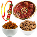 Dashing Gifts of Impressive Thali with One Rakhi and Crispy Dry Fruits