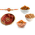 Ecstatic Gifts of Luscious Dry Fruits and Irresistible Thali with One Rakhi