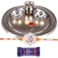 Splendid Designer Rakhi with Silver Plated Rakhi Thali