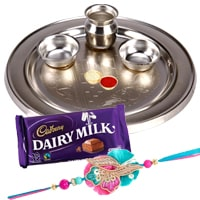 Breathtaking Gift of Impressive Silver Plated Thali with One Rakhi