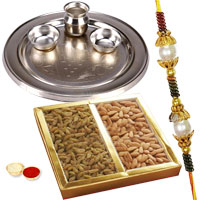 Astonishing Gifts of Nutty Dry Fruits and a Precious Silver Plated Thali with One Rakhi