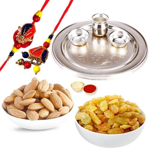 Silver Plated Rakhi Thali with 1 set Bhaiya n Bhabhi Rakhi and 200 Gms. Almonds and Resins
