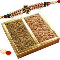 Delectable Gifts of Appetizing Dry Fruits with One Precious Om Rakhi
