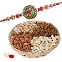 Exclusive Gifts of Rich Dry Fruits with One Premium Rakhi