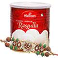 Delectable Haldirams Rasgulla Pack with Om Rakhi