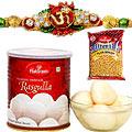 Auspicious One or More Om Rakhi with 1 Kg. Haldirams Rasgulla Pack n 170 Gms. Haldirams Bhujia