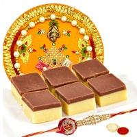 Irresistible Gift of Haldirams Soan Papri with Rakhi Tray and Rakhi