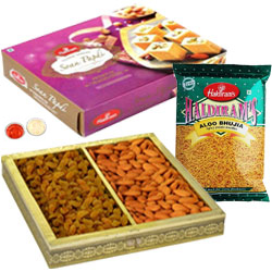 Exquisite Rakhi Special Gift of Soan Papdi and Aloo Bhujia from Haldiram with Sugar Coated Almonds N Raisins