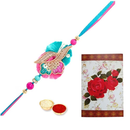 Elegant Gift of Trendy Rakhi with Rakhi Card