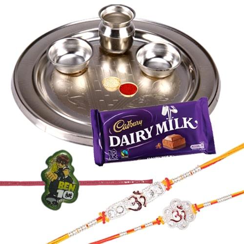Silver Plated Rakhi Thali with 2 Om Rakhi, 1 Kids Rakhi and 1 Dairy Milk 95 gr