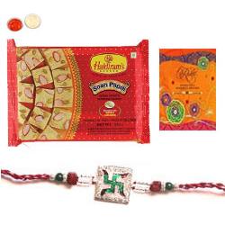 Tempting Soan Papdi With A Rakhi Card N Rakhi Thread