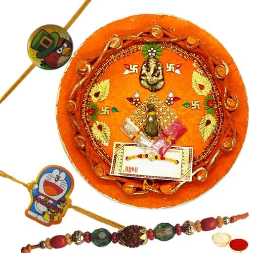 Decorative Rakhi Thali With Bhaiya N Kid Rakhi