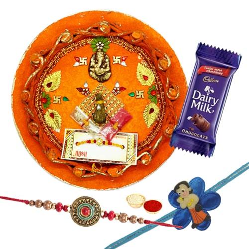 Kid Rakhi N Adult Rakhi Along with Rakhi Thali