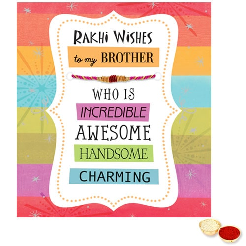 Astonishing Rakhi Card with Thread Rakhi