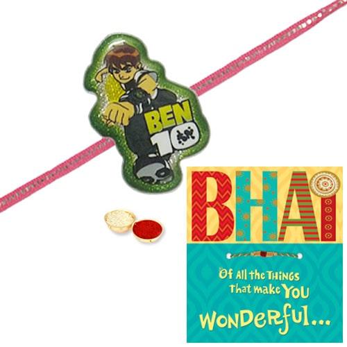 Beguiling Kids Rakhi of Ben 10 N Rakhi Card