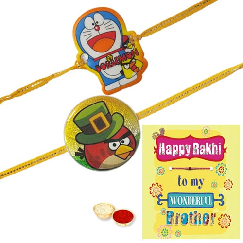 Remarkable Doraemon N Angry Bird Kid Rakhi With Rakhi Card