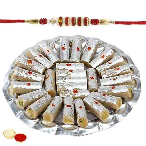 Mesmerizing Rakhi with Kaju Roll Gift Set