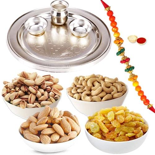 Holistic Silver Puja Rakhi Thali Set