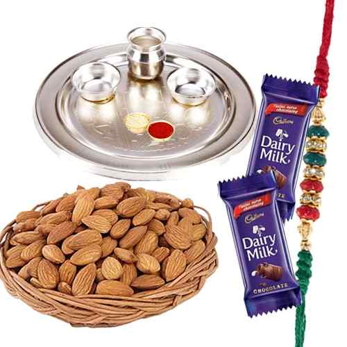 Beautifying Rakhi Thali Gift Combo