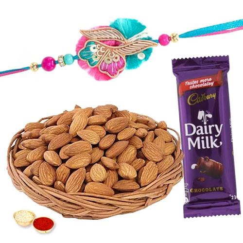 Dainty Almonds with Rakhi Combo