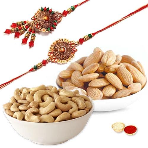 Dainty Dry Fruit Bhaiya Bhabhi Rakhi Gift Combo