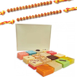 2 Rakhi with Assorted Sweets