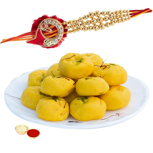 Impressive One Rakhi with Delisious Kesar peda of 500 gm