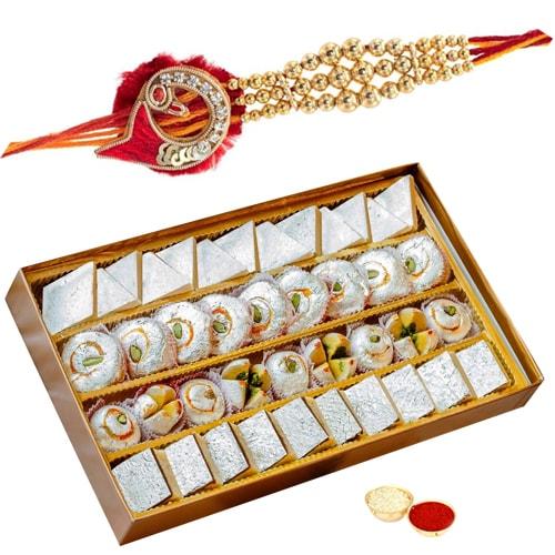 Exclusive Collection of One Rakhi N 500 gm Kaju Mithai