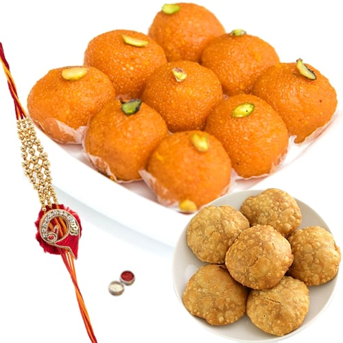 Boondi Ladoo wth Kachori and Rakhi