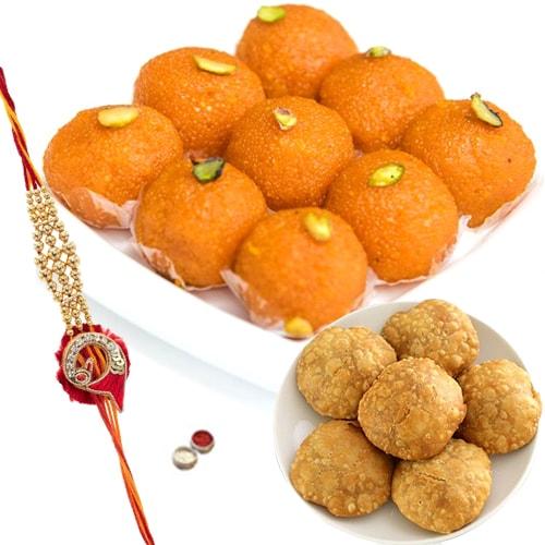 Boondi Ladoo wth Kachori and Rakhi