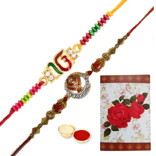 Showy Presentation of Two Stylish Rakhi