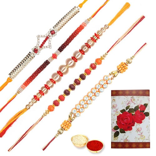 Trendsetting Set of 5 Designer Rakhi