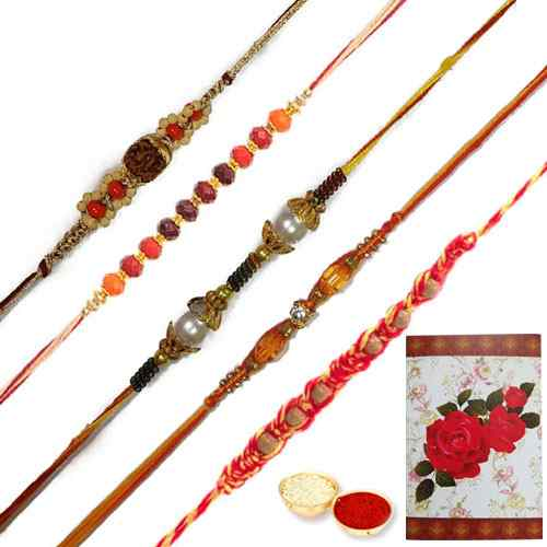 Breathtaking Gift Set of 5 Fancy Rakhi