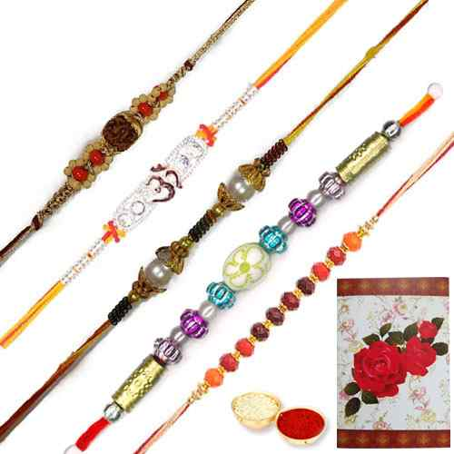 Auspicious Present of Five Dashing Rakhi Set