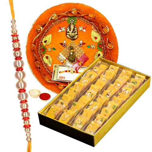 Delicious Patisha Pack N Rakhi Thali with One Fancy Rakhi