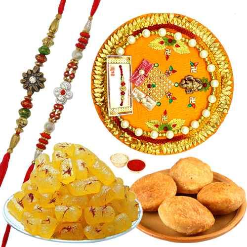 Exclusive Gift of Kesaria Angori Petha, 4 Kachori, 2 Rakhi N 1 Rakhi Thali