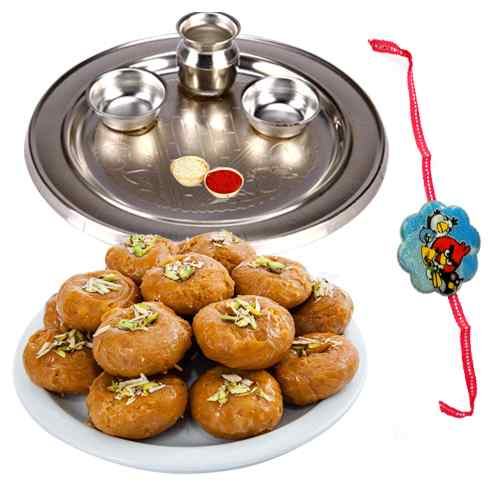 Exclusive Combo of 1 Rakhi Thali N 1 Kids Rakhi with Pack of Balushahi