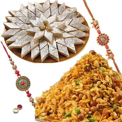 Delectable Gift of Kaju Katli, Masala Peanuts with 2 Rakhis